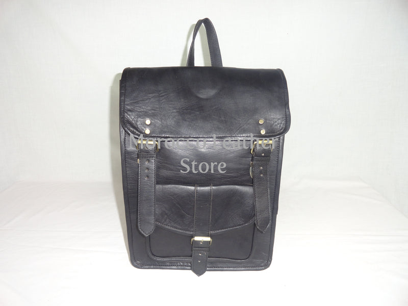 Unisex black casual moroccan leather backpack - Morocco Leather Store
