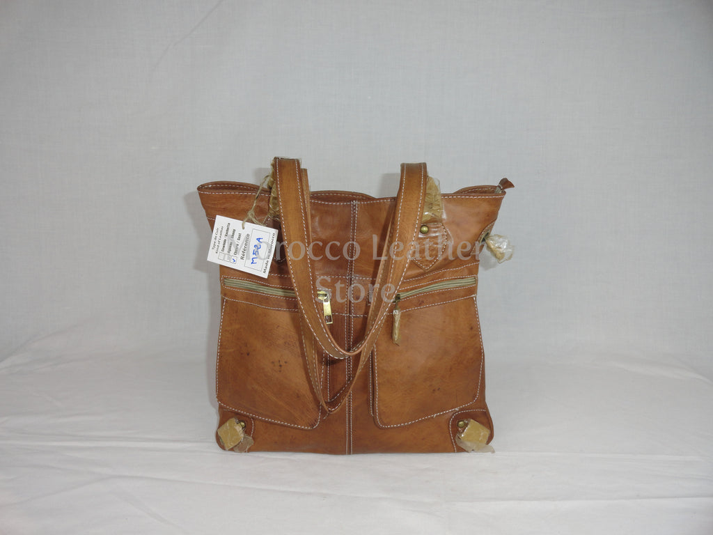 Genuine leather moroccan tote bag - Morocco Leather Store