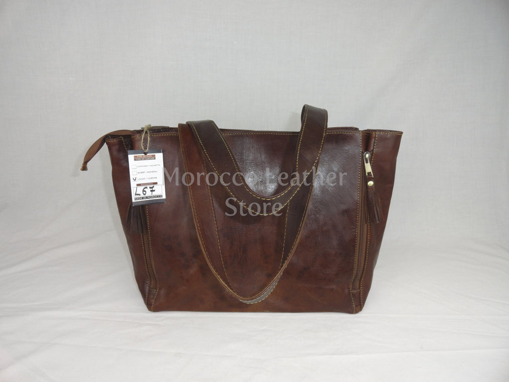 Genuine dark brown simple leather Tote bag - Morocco Leather Store