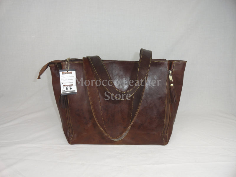 Genuine simple leather Tote bag - Morocco Leather Store