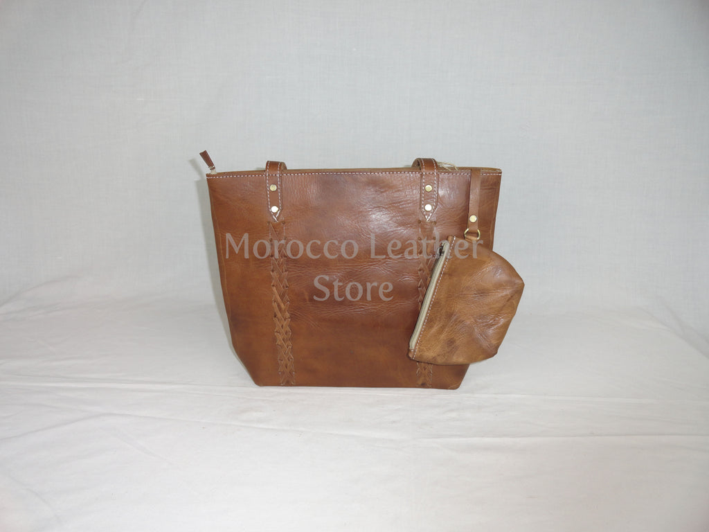 Simple dark brown Casual genuine leather tote bag - Morocco Leather Store