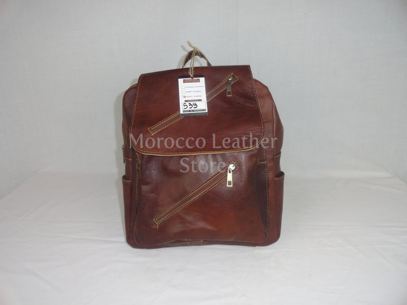 Unisex casual genuine light brown leather backpack - Morocco Leather Store