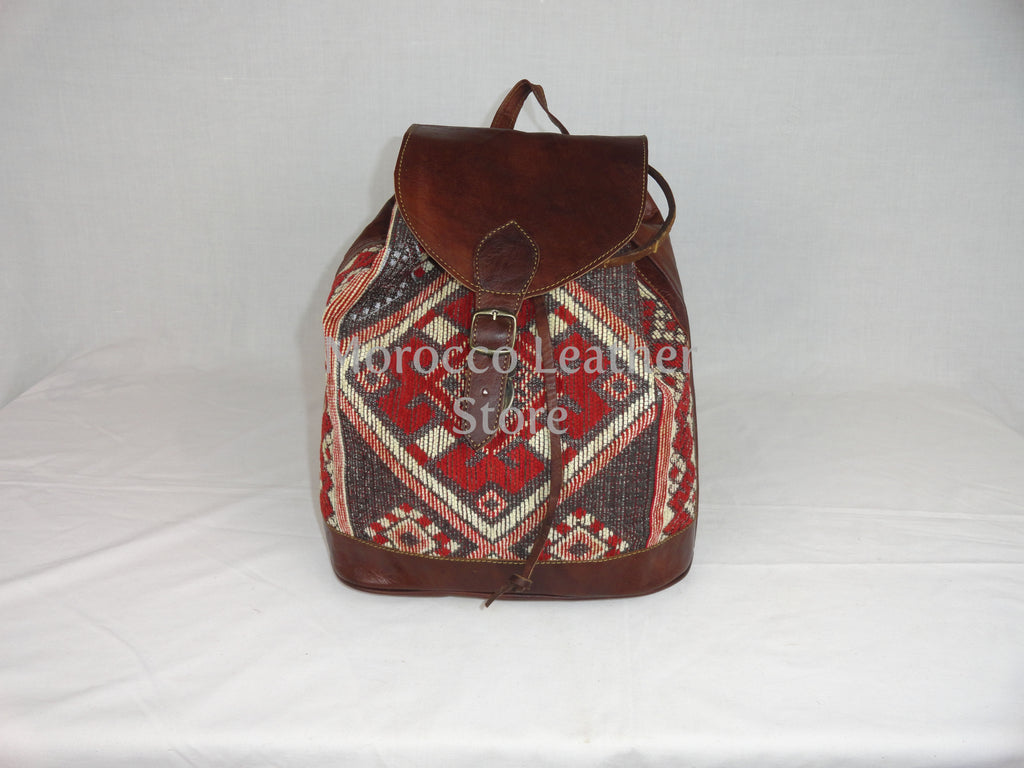 Unisex Colorful genuine light brown leather kilim backpack - Morocco Leather Store