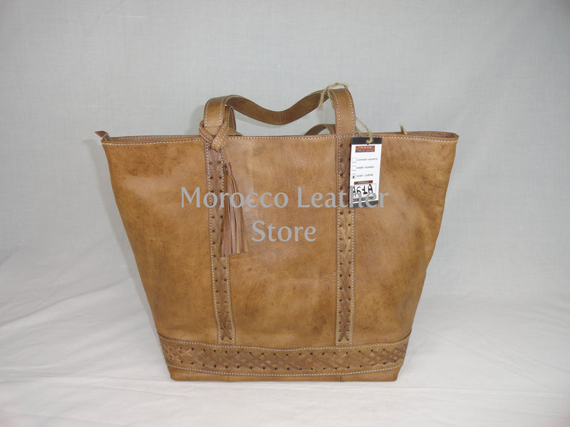 Moroccan natural stylish genuine leather tote bag - Morocco Leather Store