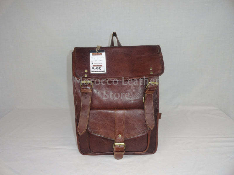 Unisex light brown casual moroccan leather backpack - Morocco Leather Store