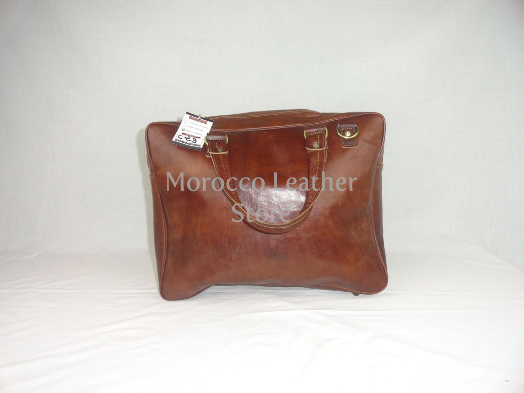 Genuine light brown Leather laptop bag - Morocco Leather Store