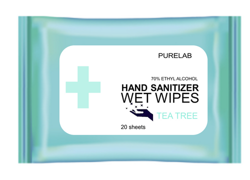 HAND WIPES W/ TEA TREE - ANTI-BACTERIAL - 20 SHEETS/PK