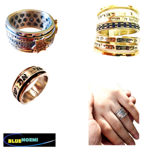 Bluenoemi spinner rings personalized rings Hebrew English quotes rings