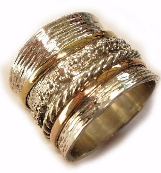 Spinner rings for women, spinner rings for men, silver spinner ring with 9ct gold bands-Rings-Bluenoemi Jewelry