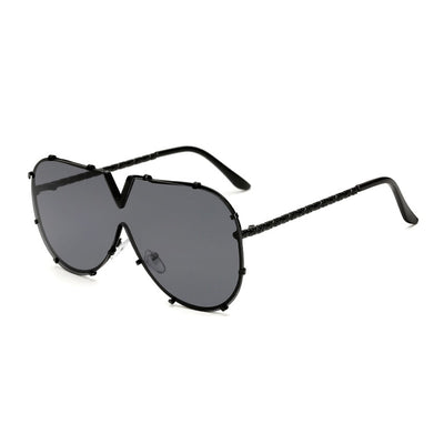 Cateye Silver Pearl Collection Sunglasses, Black and White Buffalo Horn Style Acetate