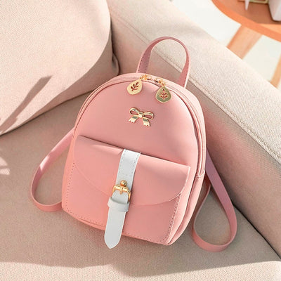 Women's Mini Backpack Luxury PU Leather Cute Graceful Small Bow-knot Leaf Bags