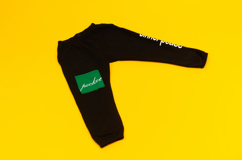 "The ""Sinner Peace Pocket"" Black Sweatpants"