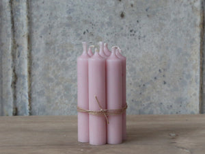 Bundle Of 7 Short Dinner Candles - Powder Pink