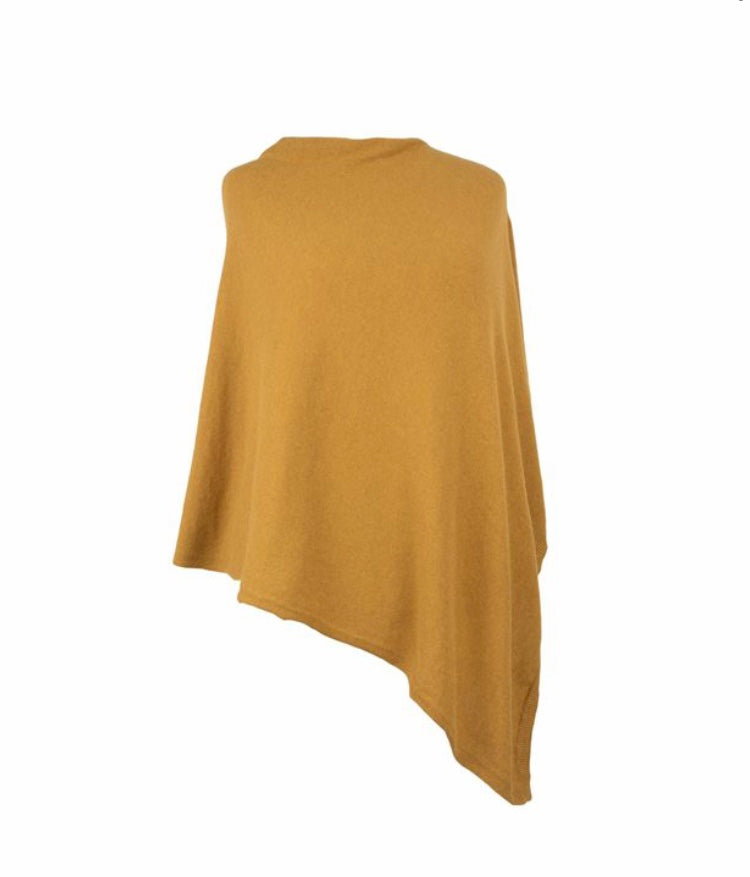 Cadenza Italy Cashmere Blend Poncho - Mustard
