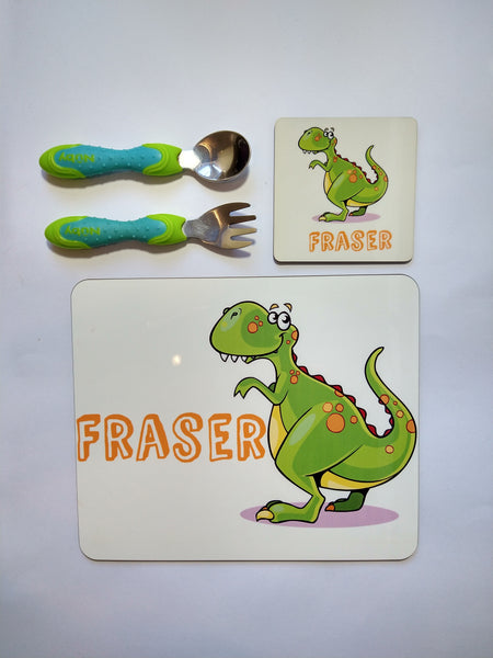 Placemat and Coaster Set (Dinosaur)