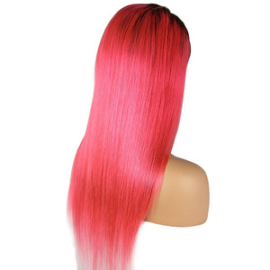 Loks Gorgeous Color Pink With Nature Black Ombre Lace Front Wig - Lokshair