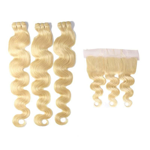 Body Wave 613 blonde human hair weave 3 Bundles with Frontal-Loks - Lokshair