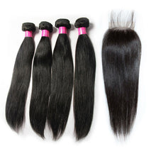 Load image into Gallery viewer, Brazilian cheap straight human hair 4 bundles with closure vendors-Loks - Lokshair