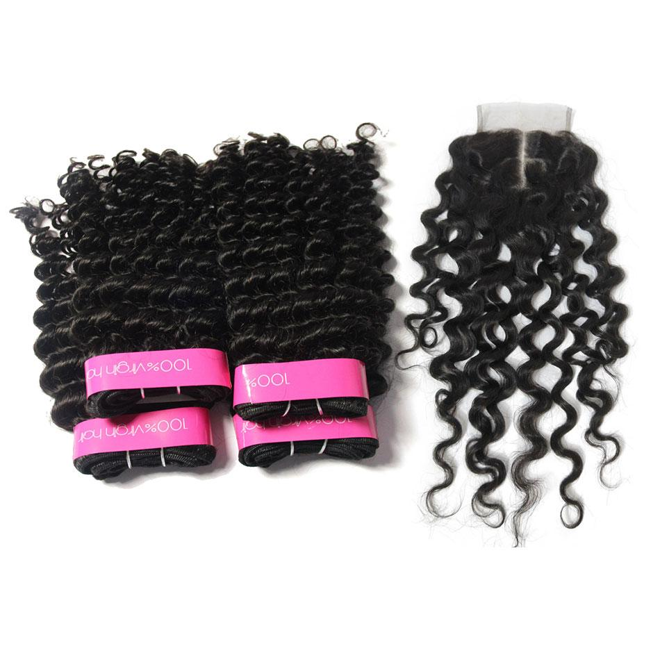 Loks Brazilian Curly Human Hair Extension 4 Bundles With Closure - Lokshair