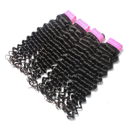 Loks Brazilian Cuticle Aligned Deep Wave 4 Bundles Virgin Hair - Lokshair