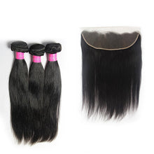 Load image into Gallery viewer, Brazilian cuticle aligned virgin Straight hair 3Bundles & Frontal-Loks - Lokshair