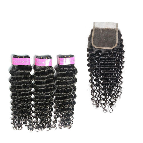 Loks Brazilian Deep Wave 100% Human Hair Weave 3 Bundles With Closure - Lokshair