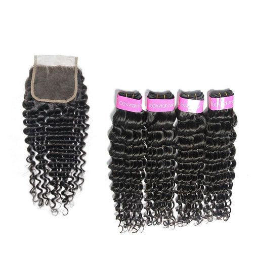 Loks Brazilian Deep Wave Cuticle Aligned Hair 4 Bundles With Closure - Lokshair