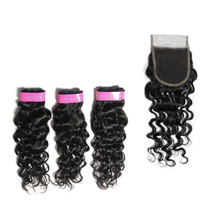 Loks Italian Curly  3 Bundles With 4*4 Lace Closure - Lokshair