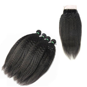 Loks kinky straight 4 bundles with closure - Lokshair