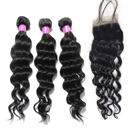 Brazilian Natural Wave Hair 3 Bundles with Closure - Lokshair