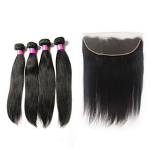 Load image into Gallery viewer, Loks Brazilian Straight virgin hair 4 Bundles with Frontal - Lokshair