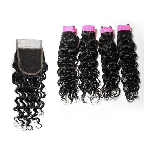 Loks Virgin Hair Italian Curly 4 Bundles With Closure - Lokshair