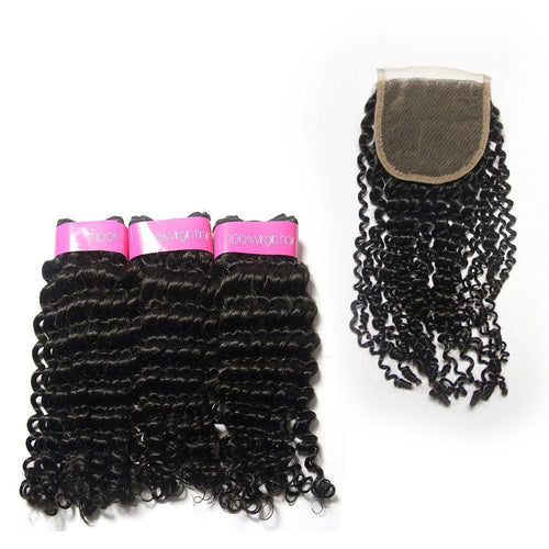Loks Brazilian Curly Hair 3 Bundles With Closure - Lokshair