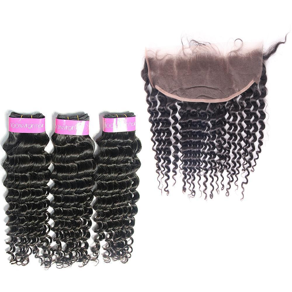 Loks Wholesale Brazilian Deep Wave 3 bundles With Lace Frontal - Lokshair