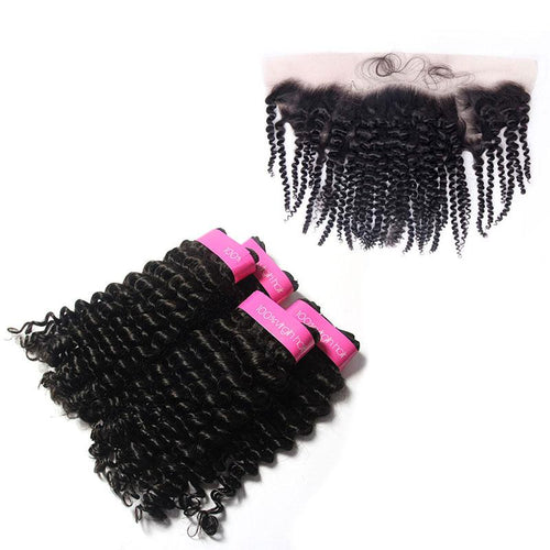 Loks Brazilian Curly Hair 4 Bundles With Frontal - Lokshair
