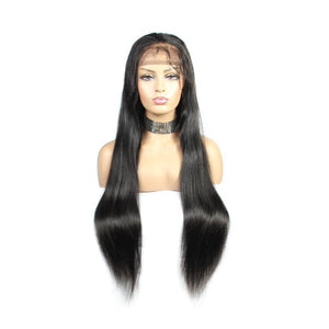 Loks Long Human Hair Straight Lace Front Wig With Baby Hair - Lokshair