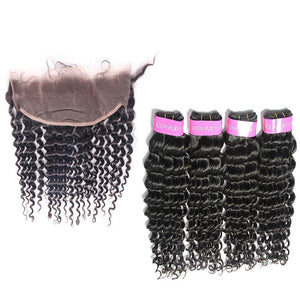 human hair vendor from Brazilian Deep Wave 4 Bundles with Frontal-Loks - Lokshair