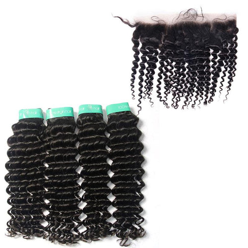 human hair vendor from indian Deep Wave 4 Bundles with Frontal-Loks - Lokshair