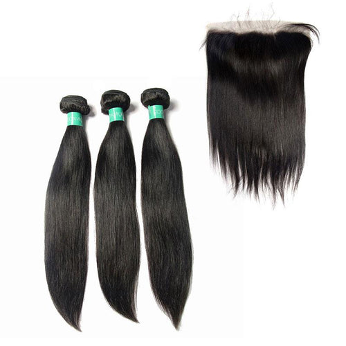 indian cuticle aligned virgin Straight hair 3Bundles & Frontal-Loks - Lokshair