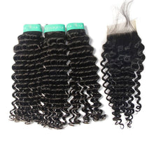Load image into Gallery viewer, Loks Indian Deep Wave 100% Human Hair Weave 3 Bundles With Closure - Lokshair