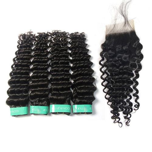 Loks indian deep wave cuticle aligned hair 4 bundles with closure - Lokshair