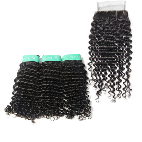 Loks Indian Curly Virgin Hair Weaves 3 Bundles With Closure - Lokshair