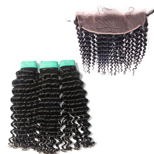 indian wholesale deep wave 3bundles with lace frontal vendors-Loks - Lokshair