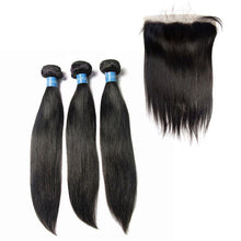 Load image into Gallery viewer, Loks Malaysian virgin Straight hair 3 Bundles with Frontal - Lokshair