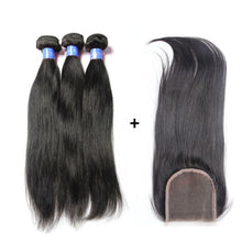 Load image into Gallery viewer, Loks Malaysian Straight Hair Weave 3 Bundles With Lace Closure - Lokshair