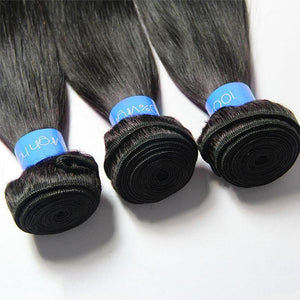 Loks Malaysian Straight Hair Weave 3 Bundles With Lace Closure - Lokshair