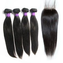 Load image into Gallery viewer, Loks Peruvian Virgin Peruvian Straight Hair 4 bundles with closure - Lokshair