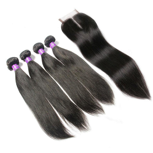 Loks Peruvian Virgin Peruvian Straight Hair 4 bundles with closure - Lokshair