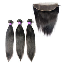 Load image into Gallery viewer, Loks Virgin Peruvian Straight Hair 3 Bundles With Frontal - Lokshair