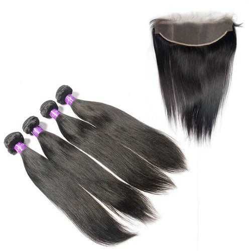 peruvian unprocessed Straight virgin hair 4 Bundles with Frontal-Loks - Lokshair
